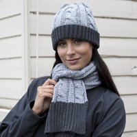 Grey Cable Knit Scarf And Hat Set