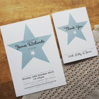 Star Christening Invitation, White/Ivory/Cream