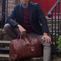 Personalised Leather Weekend Bag With Buckle Farini