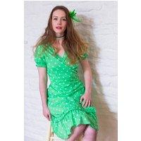 Spotty Green Wrap Dress