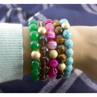 Faceted Agate Bead Friendship Bracelet