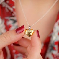 Personalised Hammered Gold Heart Locket, Gold