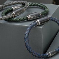 Mens Personalised Woven Leather Bracelet