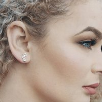 Silver Graduated White Topaz Stud Earrings, Silver