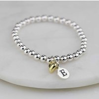 Personalised Children's Bracelet With Gold Heart Charm, Gold