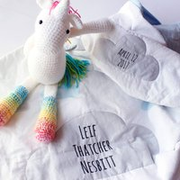 Personalised Baby Gift Blue Clouds Quilt, Blue