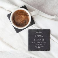Personalised New Home Couple's Gift Slate Coaster