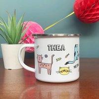 Personalised Cat Enamel Mug
