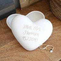 Engraved Wedding Pottery Heart Keepsake Box