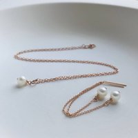 Rose Gold And Aa Pearls Jewellery Set, Gold