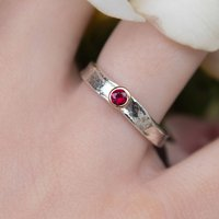 Designer Ruby Gold And Sterling Silver Ring, Silver