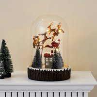 Glass Dome With Santa And Sleigh