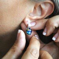 Black Fire Opal Earrings In Gold Or Silver, Silver