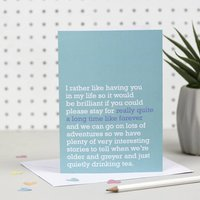 'Really Quite A Long Time Like Forever' Card, Bright Pink/Pink/Taupe