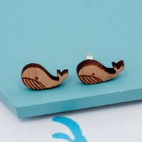 Wooden Whale Stud Earrings