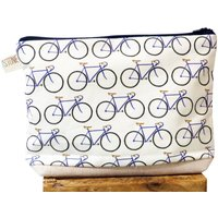 Standard Handmade Bike Fabric Toiletry Bag, Grey/White