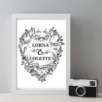 Personalised Mrs And Mrs Wedding Tattoo Gift Print