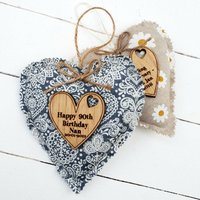 Birthday Fabric Heart With Oak Message