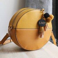 Personalised Mustard Shoulder Bag With Pompom Tassels
