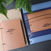 Personalised Love Knot Leather Travel Journal Or Wallet
