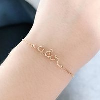 You And Me Initials 14k Gold Filled Bracelet, Gold