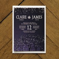 Winter Snow Wedding Invitations And Save The Date, Brown/Midnight Blue/Midnight