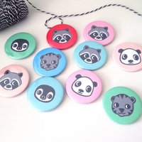 Personalised Animal Party Badges, Green/Blue/Red