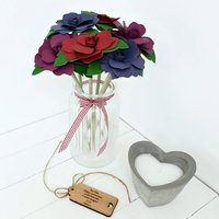 3rd Anniversary Glass With Deluxe Large Leather Roses