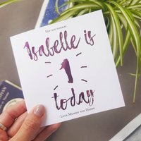 Hip Hip Hooray   Personalised First Birthday Card