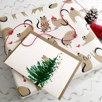 Naughty Cat Christmas Card And Wrapping Paper
