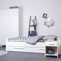 Dennis Single Bed With Trundle, Grey/White