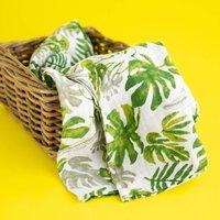 Palm Leaf Cotton Muslin Swaddle Baby Blanket