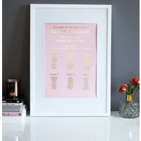 Baby Pink And Gold Wedding Seating Plan Table Plan