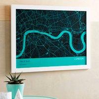 Personalised London City Street Map Print, Charcoal/Mauve/Straw