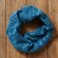 Knitted Snood Fair Isle Pattern, Light Blue/Blue/White