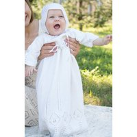 Hand Knitted White Christening Dress