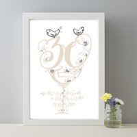 30th Anniversary Personalised Pearl Wedding Print