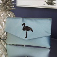 Flamingo Glitter Clutch Choose Your Colours, Black/Navy/Magenta