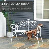 Floral Scroll Design Steel Garden Bench