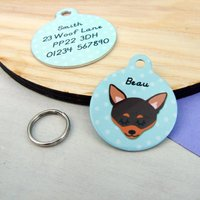 Chihuahua Personalised Dog ID Tag, Pink/Blue/Red