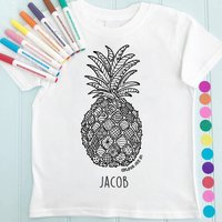 Personalised Pineapple Colour In Child's T Shirt