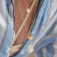 Compass Midi With Garnet Necklace In Silver Or Gold, Silver