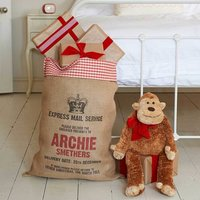 Personalised Christmas Sack With Gingham Fabric