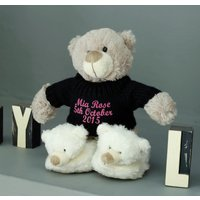 Personalised Teddy Bear And Baby Slipper Set, Baby Blue/Blue/Red