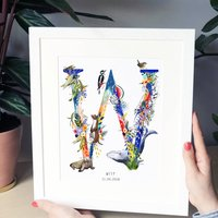 Personalised T To Z Bright Wildlife Letter Print