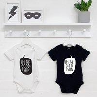 Good Twin And Bad Twin Babygrow Set, Blue/Black/Pink