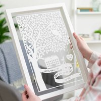 Personalised New Baby Tree And Stork Papercut