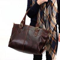 Large Leather Handbag Tote, Distressed Brown
