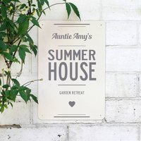 Personalised Summer House Metal Sign, Black/Grey/Red