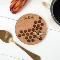 Round Bee Kind Wooden Coaster